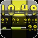 Digi-Uhr schwarz Lime-widget