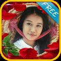 Rose flower frame photomontage