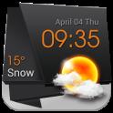 3D Clock Weather Solid Black