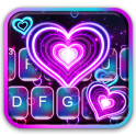 Neon 3d Heart Keyboard Theme