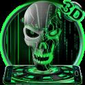 Neon Green tech Skull 3D Theme