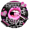 Glitter Pink Lips Sweet Love Theme