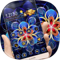Golden Blue Flower Theme