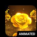 Gold Rose Animated Keyboard + Live Wallpaper