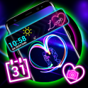 Neon Heart Launcher Theme