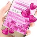 Animated Pink Heart Glitter Keyboard