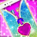 Valentine Glitter Zipper App Lock