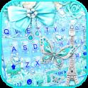 Blue Paris Butterfly Tema de teclado