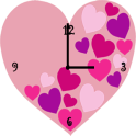 Pink Love Heart Clock Widget