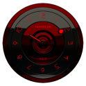 Black Red analog clock widget