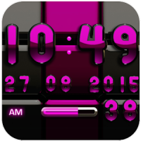 Digi 時計黒ピンク ウィジェット