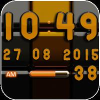 Widget Digi Clock Noir Orange