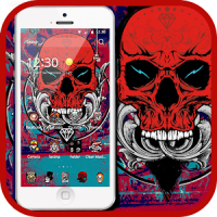 Red Skull Theme Cool Street Graffiti Art