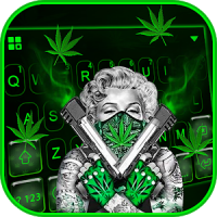 Gun Weed Cool Lady Keyboard