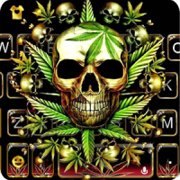 Gold Weed Skull Keyboard Theme